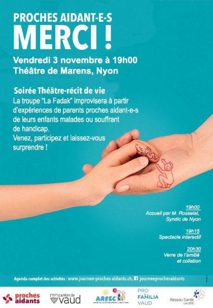 Vendredi 3 novembre : Soirée Théâtre – récit de vie – campagne proches aidant-e-s